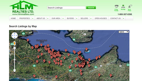 Map page shows searchable listings in an interactive Google Map form
